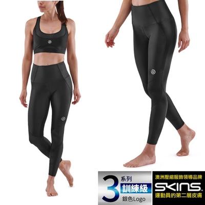 澳洲 SKINS 女款 3系列訓練級壓縮長褲.緊身彈力褲.運動壓力褲_黑