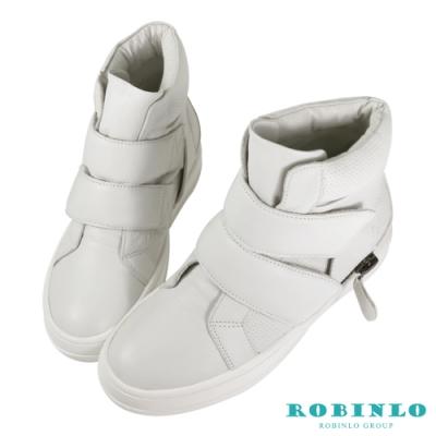 Robinlo 真皮壓紋氈黏高筒休閒鞋 灰色