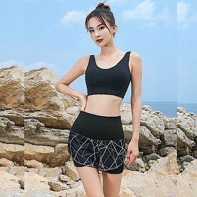 Biki比基尼妮泳衣  理石網狀假二件式速乾運動泳褲(M-XL)