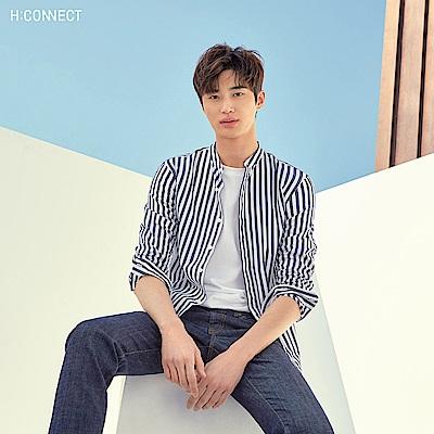 H:CONNECT 韓國品牌 男裝-直條紋棉質襯衫-深藍