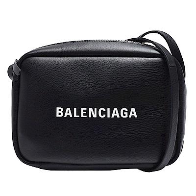 BALENCIAGA 經典EVERYDAY系列品牌白色字母LOGO小牛皮斜背相機包(黑)