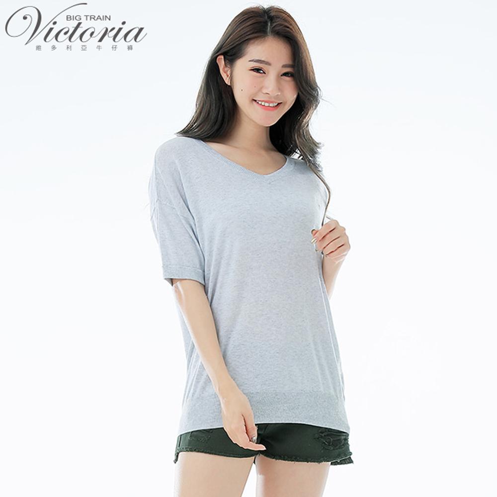 VictoriaV領寬鬆落肩短袖線衫-女-花灰銀