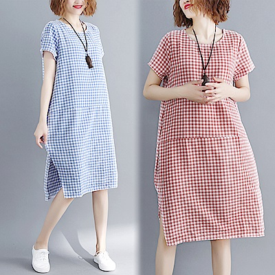 百搭格紋側開叉連衣裙-共3色(M-XL可選)    NUMI  森