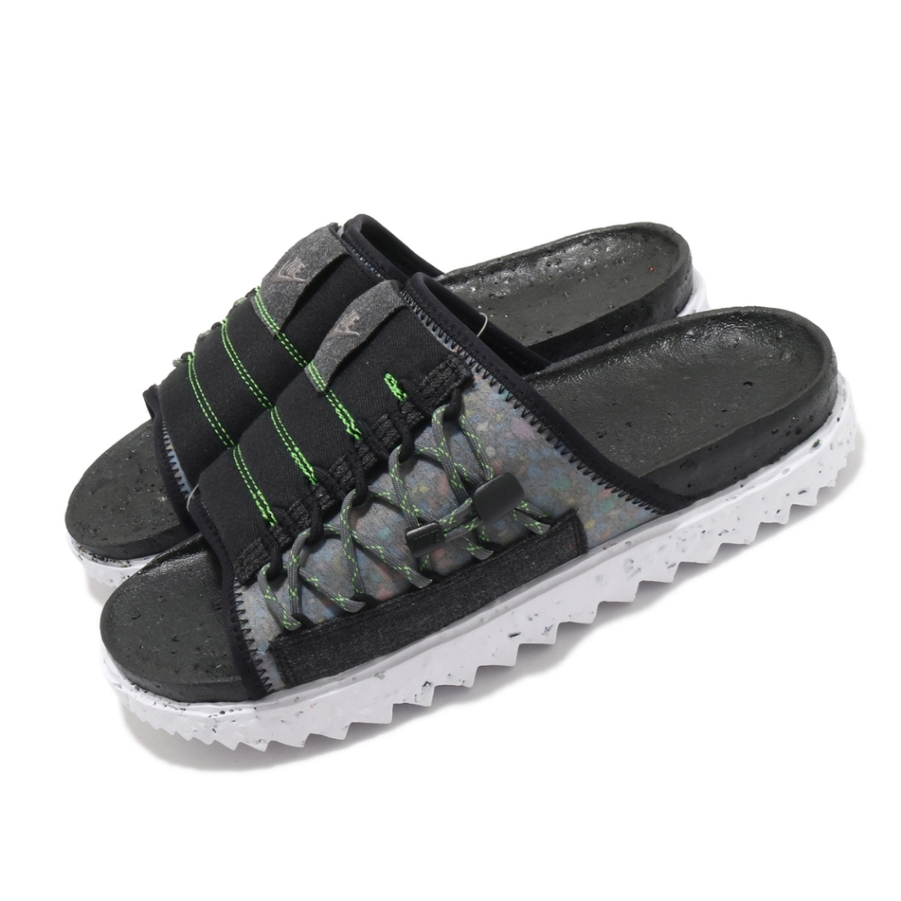 Nike 拖鞋 Asuna Crater Slide 男鞋 夏日拖 輕便 環保回收材質 穿搭 黑 白 DJ4629002