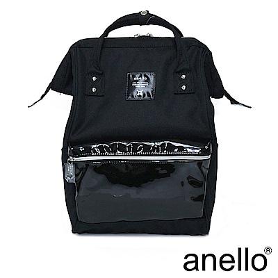 anello 精緻雙材質拼接口金後背包 黑色 L