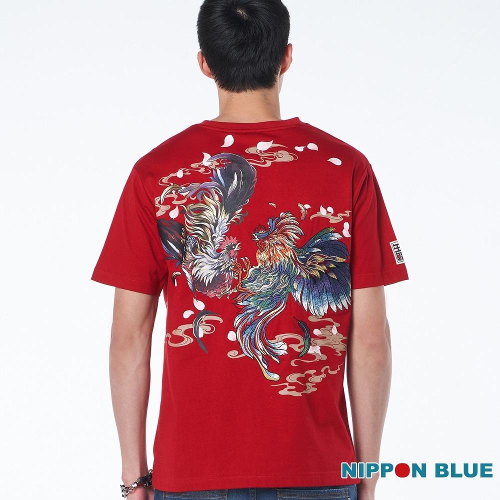 日本藍 BLUE WAY – 進口金標-破曉鬥雞短TEE(紅)