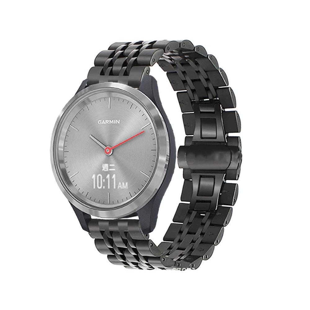 Garmin vivomove 3S/vivoactive 4s 18mm不鏽鋼七珠鍊式錶帶