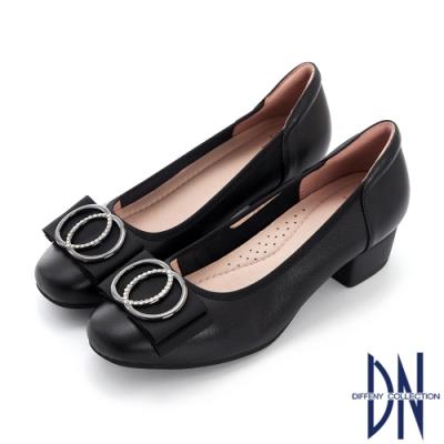 DN跟鞋_知性水鑽飾扣點綴蝴蝶結真皮粗跟鞋-黑