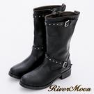 River&Moon大尺碼-鉚釘皮帶扣中統騎士靴-個性黑