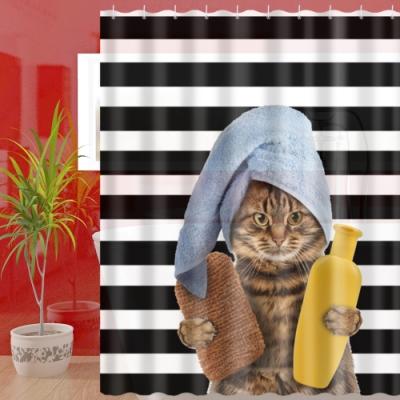 180x180cm 貴貓浴一家防潑水浴簾(一個)