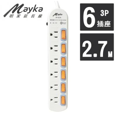 明家 Mayka SP-613A-9 6開6插3P延長線 2.7M 9呎
