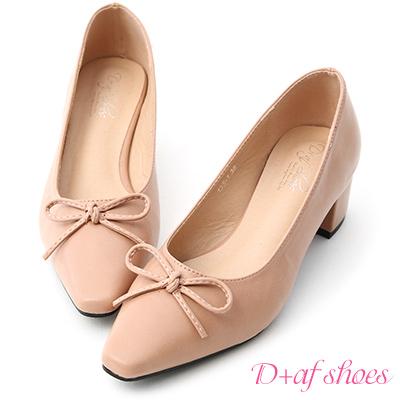 D+AF 優雅舞伶.蝴蝶結尖頭中跟芭蕾鞋*粉
