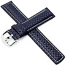 海奕施 HIRSCH Carbon L 碳纖維皮革錶帶-藍