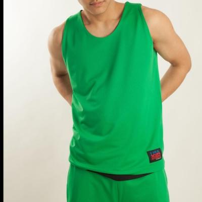 【FIVE UP】男款雙面穿吸排籃球背心-中綠