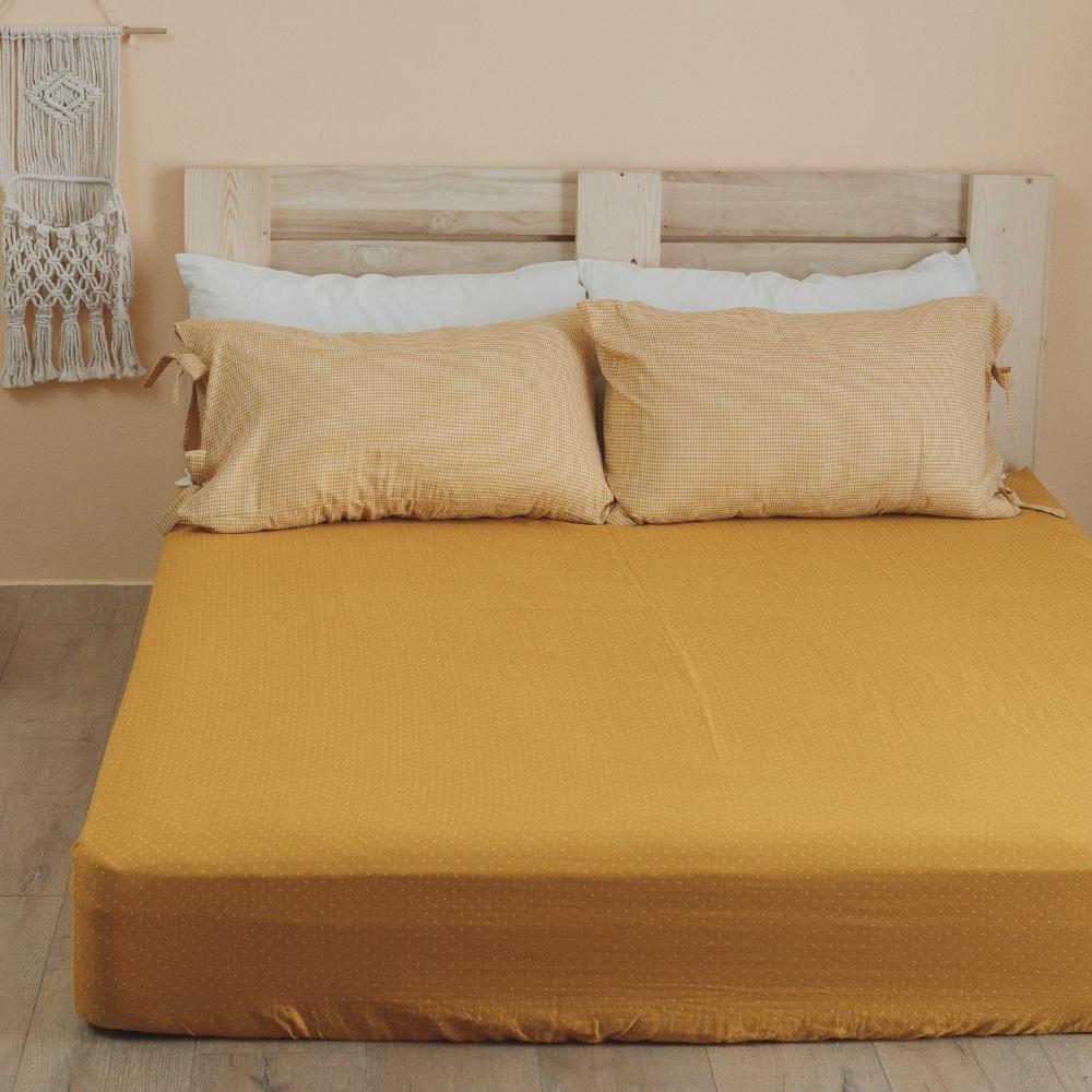 翔仔居家 台灣製 頂級長絨棉 色織雙層紗系列 枕套&床包3件組-暖陽黃 (雙人)