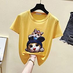 初色  貓咪印花短袖T恤-共3色-(M-XL可選)