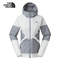 The North Face北面女款白灰色可收納式風衣外套|3RL7GBC