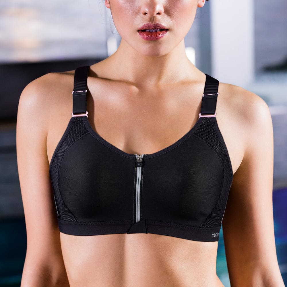 黛安芬-triaction zip系列 B-C罩杯運動內衣 律動黑