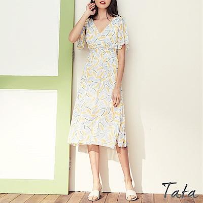 V領高腰雪紡花洋裝 共二色 TATA