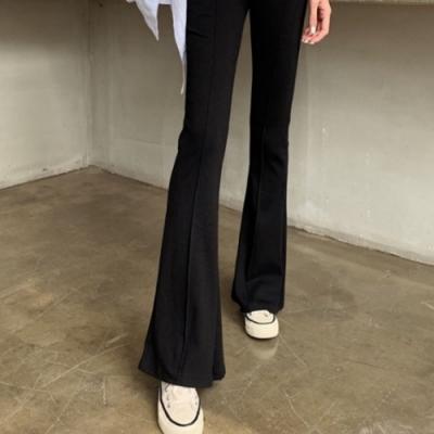 La Belleza黑色鬆緊腰車中線彈性棉質小喇叭褲(薄料)