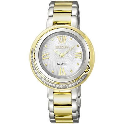 CITIZEN L系列 弦月精靈光動能時真鑽女錶(EX1124-52D)-雙色版