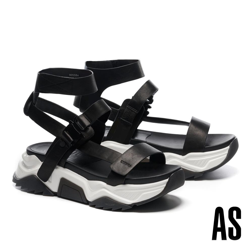 涼鞋 AS 潮感個性登山帶釦老爹厚底休閒涼鞋-黑