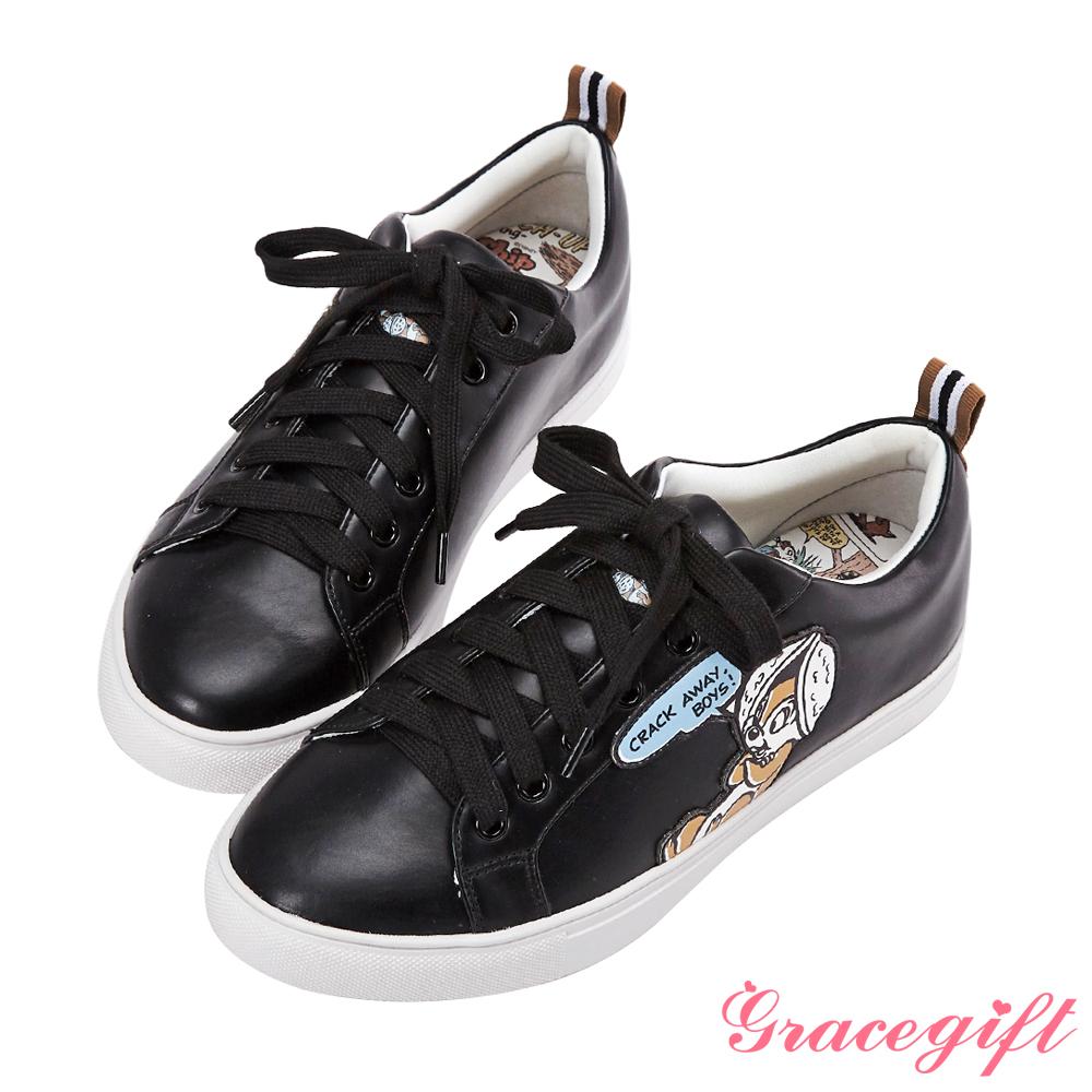 Disney collection by grace gift皮片造型織帶休閒鞋 黑