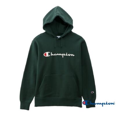 Champion Basic 草寫Logo內刷毛大口袋連帽Tee 綠色