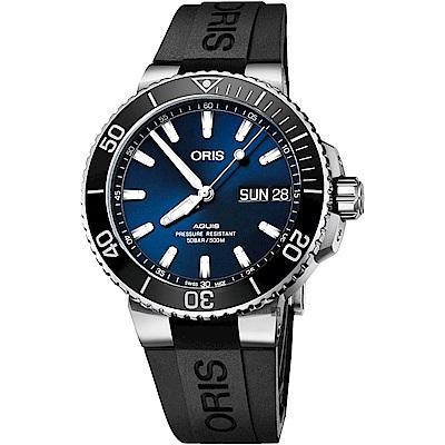 Oris豪利時 Aquis大視窗日曆星期潛水機械錶-藍x黑/45.5mm