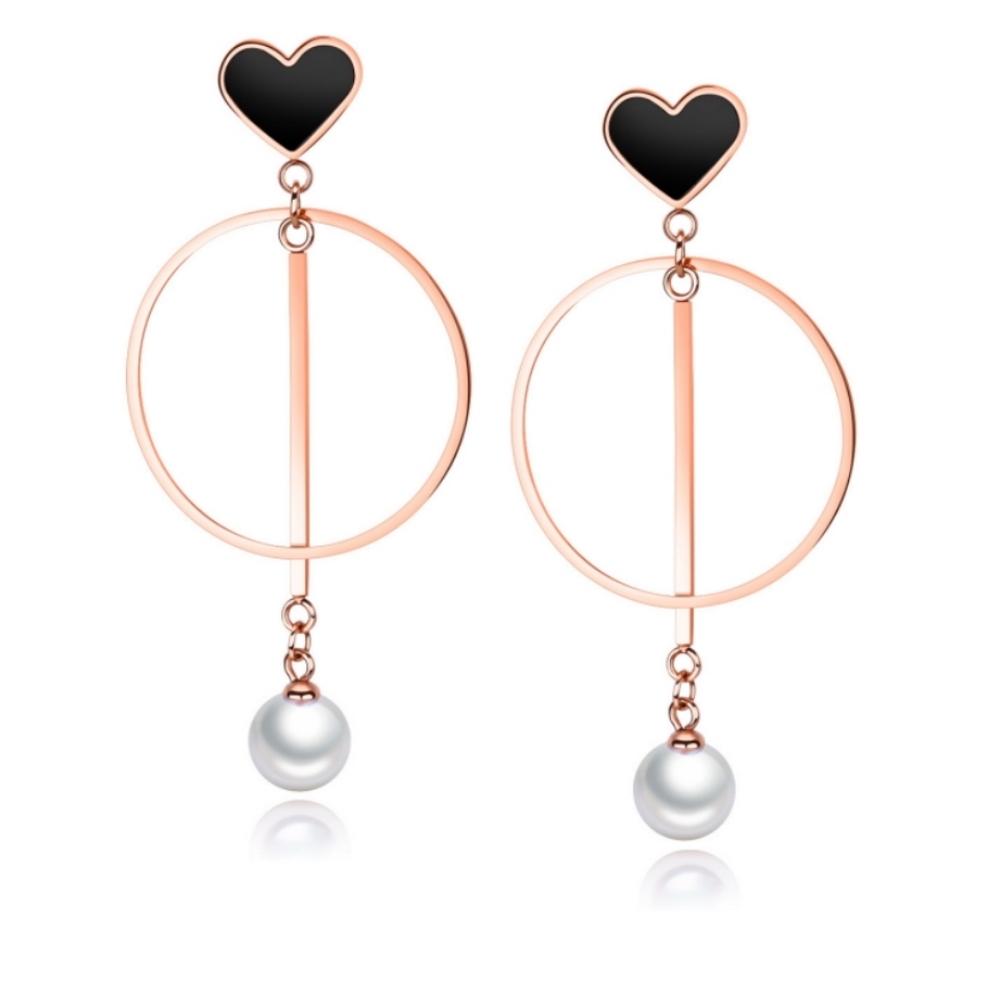 I-Shine-西德鋼-甜美時光-氣質垂墜圈圈愛心珍珠玫瑰金鈦鋼耳環DA25
