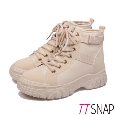 TTSNAP短靴-綁帶拼接俐落馬丁靴 米