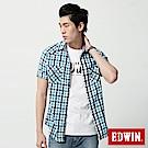 EDWIN 襯衫 竹節休閒格紋短袖襯衫-男-藍色