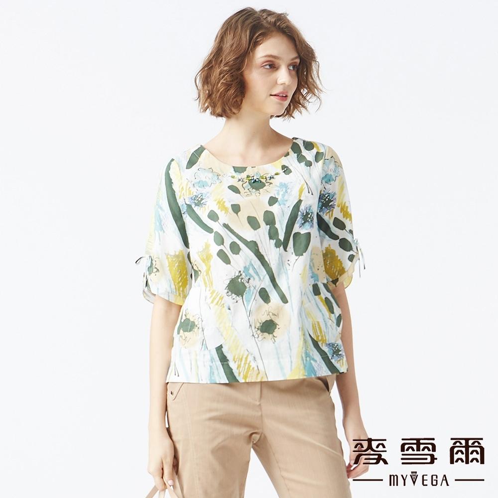MYVEGA麥雪爾 純棉水彩畫袖開岔造型上衣-綠