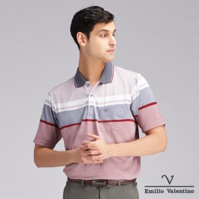 Emilio Valentino范倫鐵諾機能防皺橫紋POLO衫_紅/灰(15-V3912)