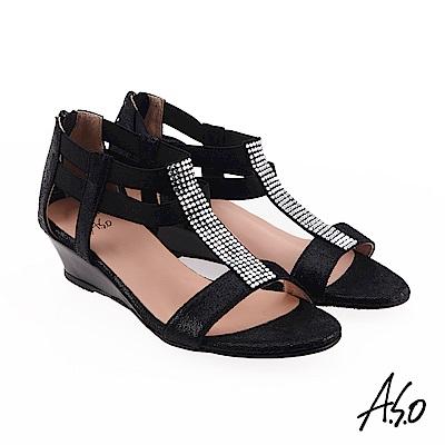 A.S.O 炫麗魅惑  全真皮摩登奈米楔型鞋 黑色