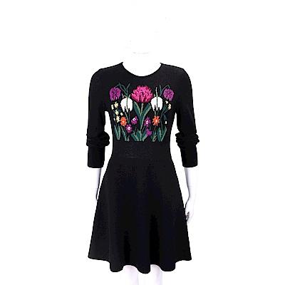 BLUGIRL 羊毛花卉圖騰黑色針織洋裝