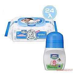 貝恩Baan NEW嬰兒保養柔濕巾80抽/箱贈貝恩嬰兒防蚊滾珠凝露50ML