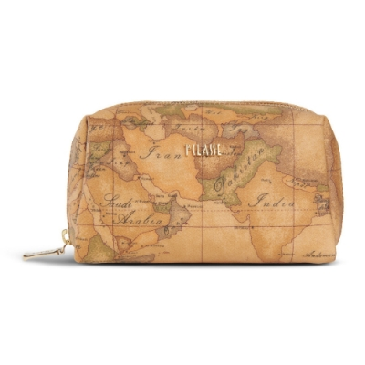 Alviero Martini 義大利地圖包 拉鍊四方化妝包(小)-地圖黃