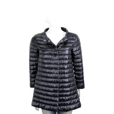 HERNO 黑色長版絎縫設計羽絨外套