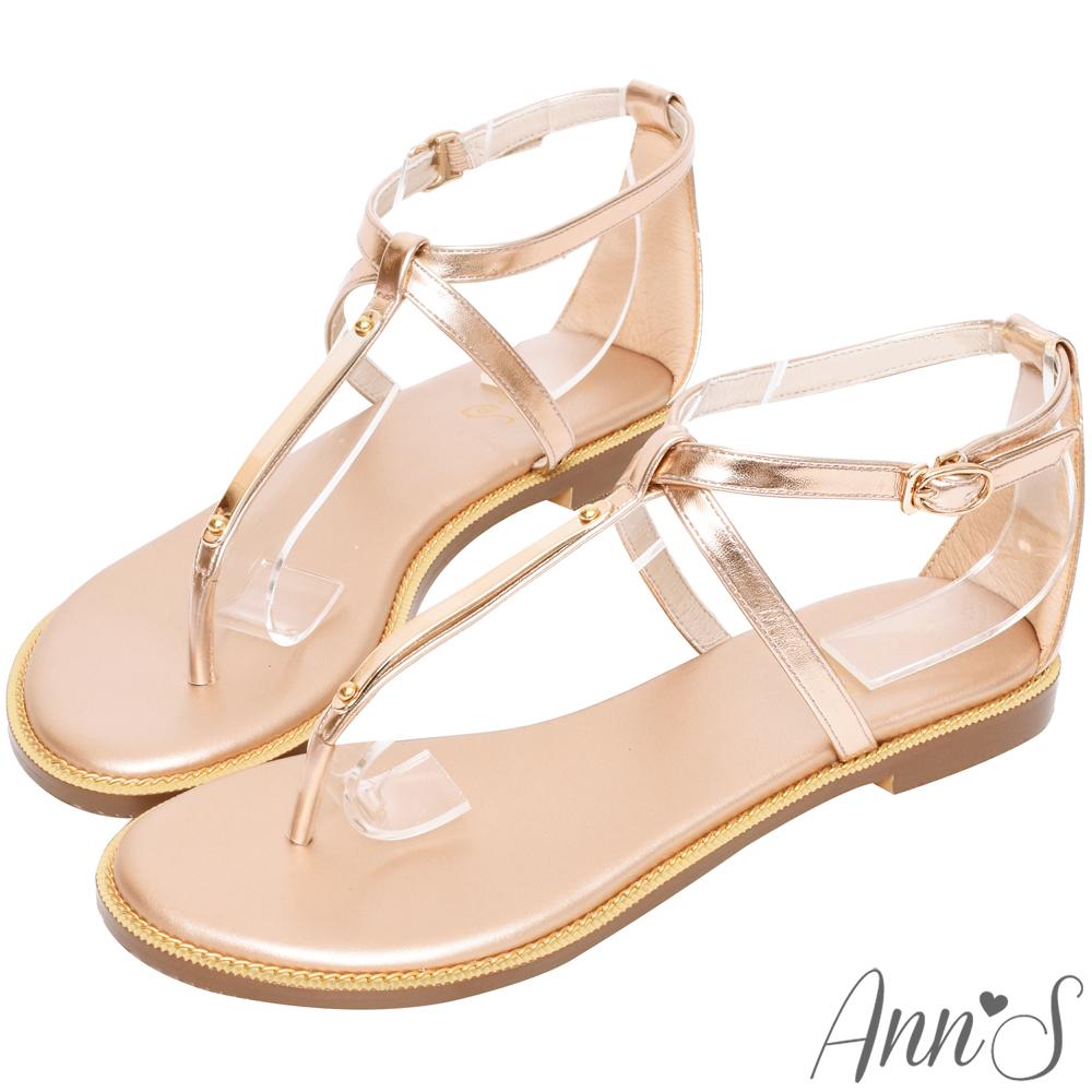 Ann'S夏日的輕鬆感-T字交叉軟金屬平底涼鞋-玫瑰金