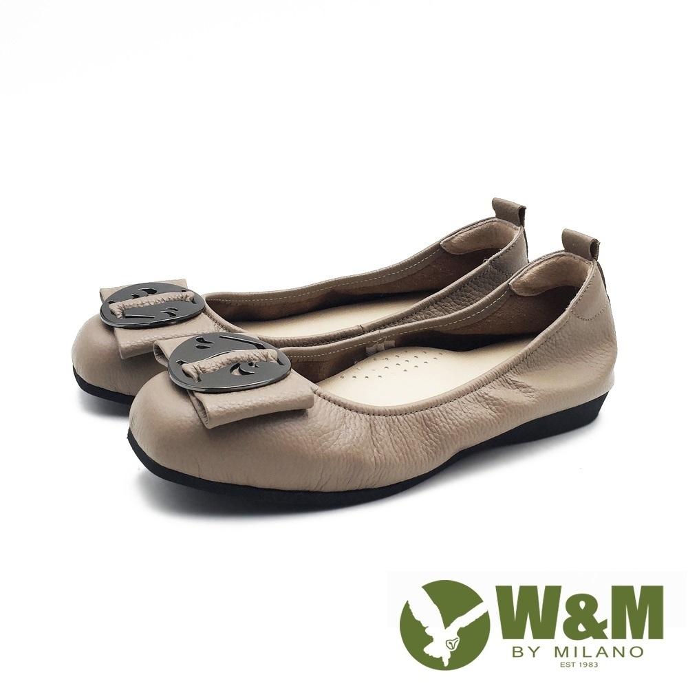 W&M 方頭蝴蝶結圓釦娃娃鞋 平底鞋 女鞋 -深卡其(另有黑)