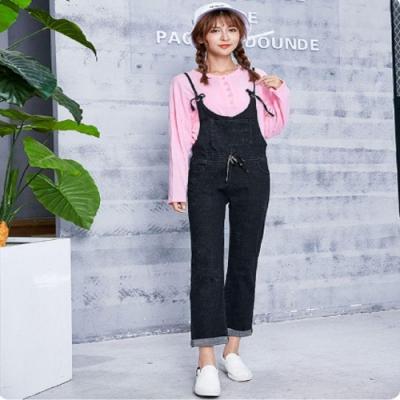【brs】韓系綁帶修身連身吊帶牛仔褲