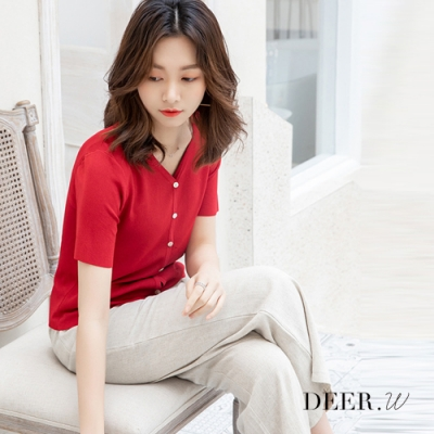 DEER.W 開襟排釦細針織外套上衣(紅)