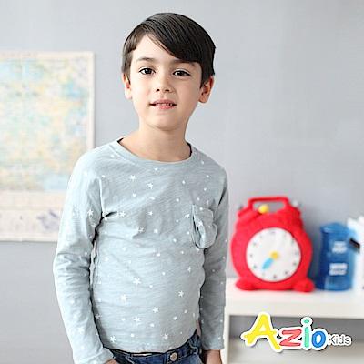 Azio Kids 上衣 滿版星星單口袋落肩竹節棉T(灰藍)