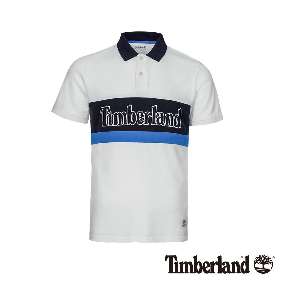 Timberland 男款白色撞色單珠地修身短袖POLO衫|A1XDP