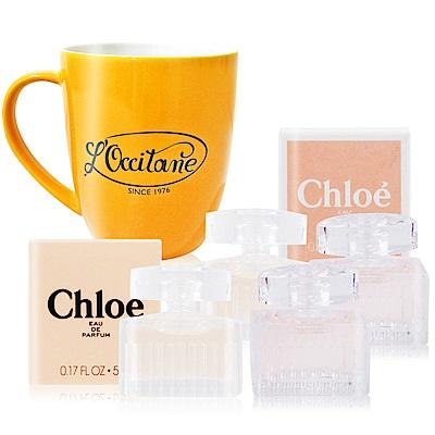 Chloe 同名&白玫瑰5ML經典香水隨身組 +復古馬克杯