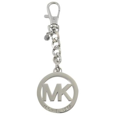 MICHAEL KORS KEY CHARMS圓型LOGO鑰匙圈吊飾(銀)