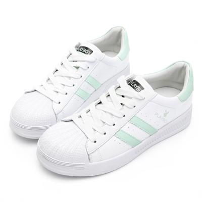 PLAYBOY 經典升級條紋仿皮休閒鞋-白綠-Y63181D