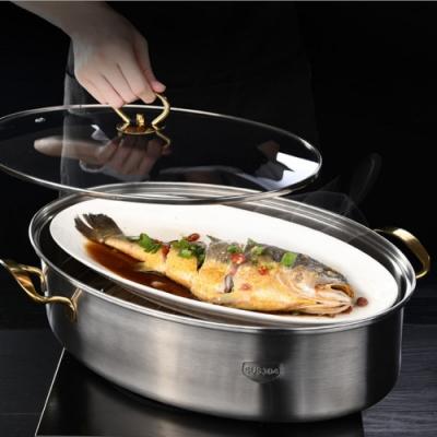 PUSH!廚房用品不銹鋼隔水蒸魚鍋橢圓長形蒸鍋38cm電磁爐蒸魚蒸鍋D207