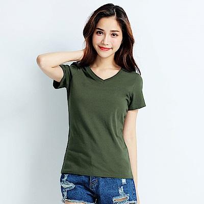 101原創 經典水洗原色V領素T恤-女-軍綠